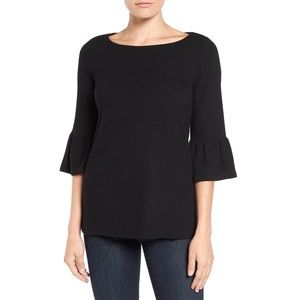 Pleione Black Knit Ribbed Bell Sleeve Top